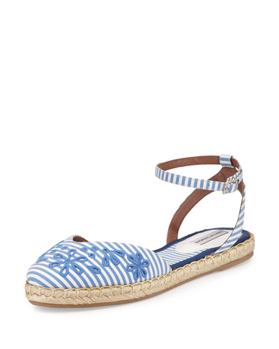 Dotty Striped d'Orsay Espadrille, Sky/White