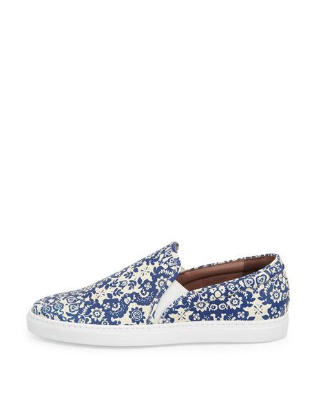 Huntington Floral-Print Slip-On Sneaker, Blue/Ecru