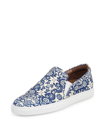 Huntington Floral-Print Slip-On Sneaker, Blue/Ecru