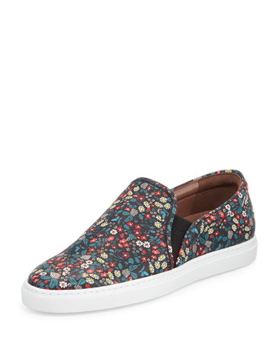 Huntington Floral-Print Slip-On Sneaker, Black