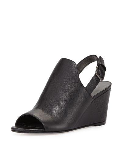 Shapely Slingback Wedge Sandal, Black