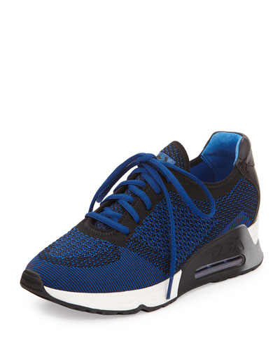 Lucky Knit Lace-Up Sneaker, Sapphire/Black