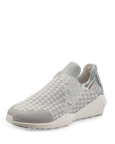 Stretch-Woven Slip-On Sneaker, Marble/Silver