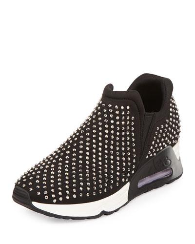 Lunar Studded Neoprene Sneaker, Black