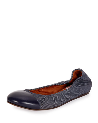 Jean Cap-Toe Ballerina Flat, Dark Blue