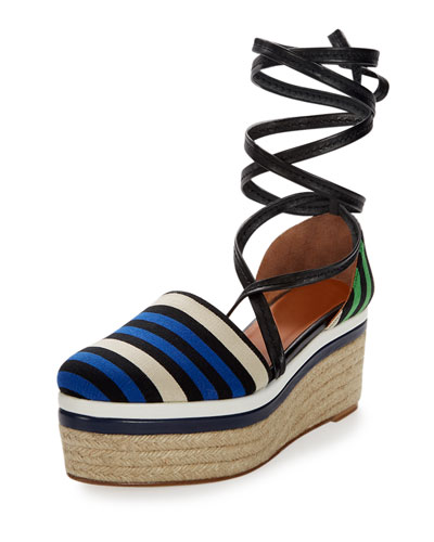 Striped Canvas Platform Espadrille, Electric Blue
