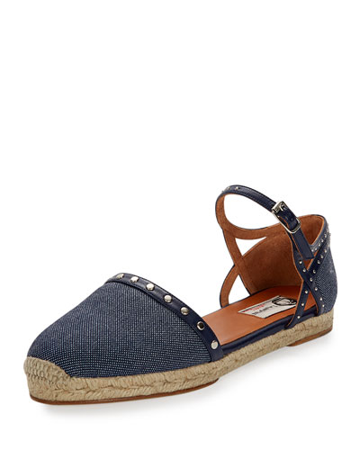 Studded Denim Espadrille Flat, Dark Blue
