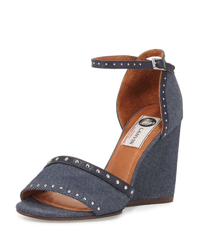 Studded Denim Wedge Sandal, Dark Blue