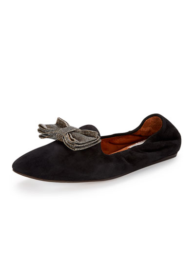 Suede Bow Slipper Flat, Black