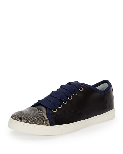 Metallic Cap-Toe Low-Top Sneaker, Dark Blue