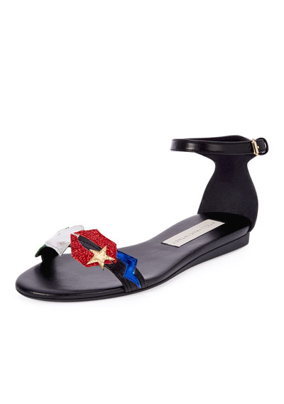 Elvis Embellished Faux-Leather Sandal, Black/Multi