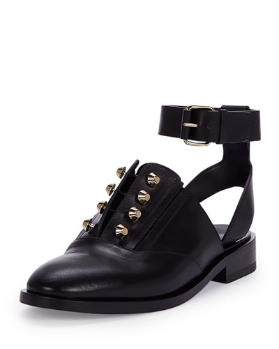 Studded Leather Derby Flat, Black (Noir)
