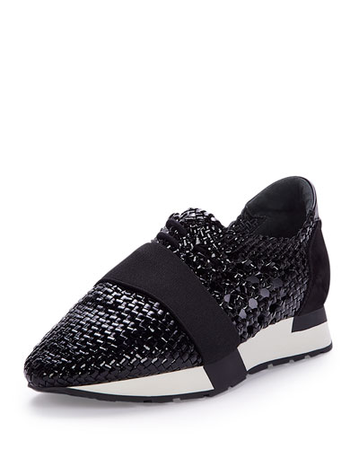 Woven Leather Sneaker, Black (Noir)