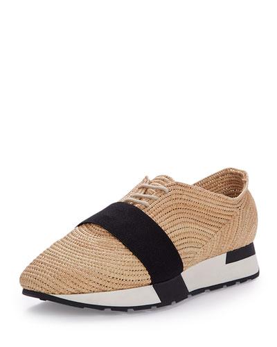 Woven Raffia Sneaker, Natural/Black