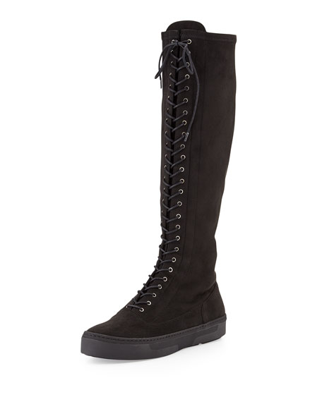 Stuart Weitzman Downtown Lace-Up Suede Tall Boot, Black
