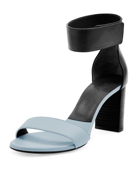 Bicolor Leather Gala Sandal, Blue/Black