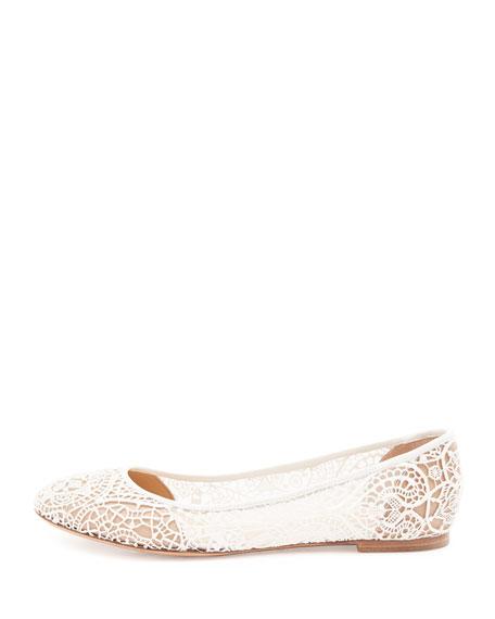 42dd301b4 Chloe Scalloped Lace Ballerina Flat, White