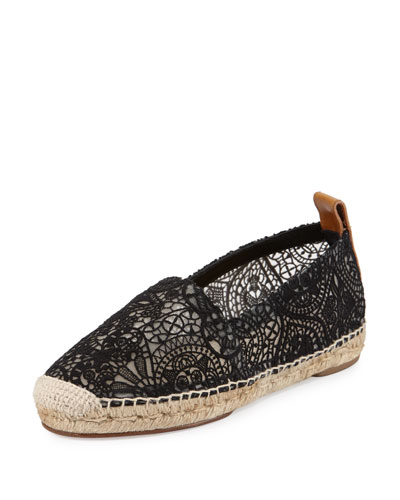 Scalloped Lace Espadrille Flat, Black