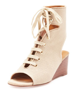 Lace-Up Canvas Gladiator Wedge Sandal, Tan