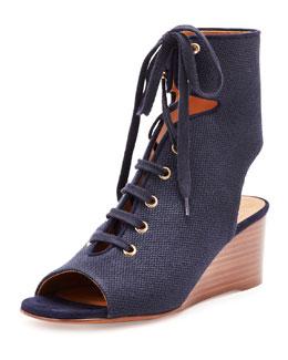 Lace-Up Canvas Gladiator Wedge Sandal, Black