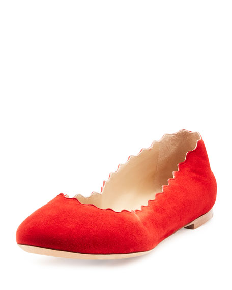 Scalloped Suede Ballerina Flat, Red Flame