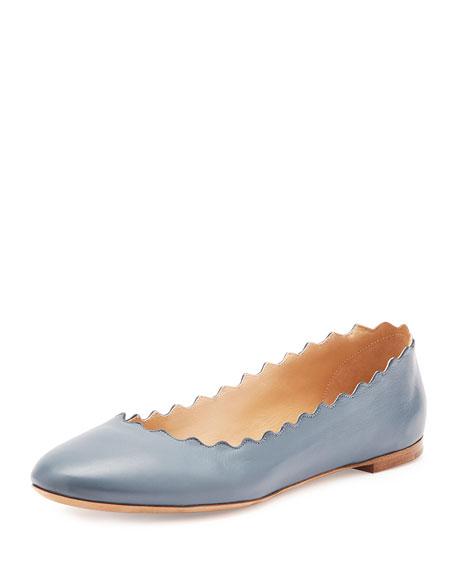 Scalloped Leather Ballerina Flat, Blue Jeans