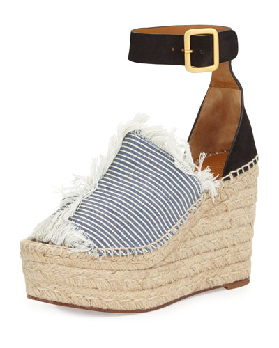Frayed Denim Espadrille Wedge Sandal