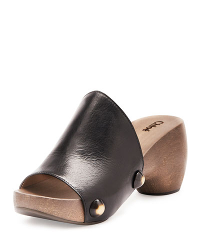 Studded Leather Clog, Black
