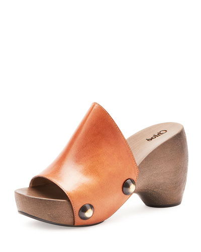 Studded Leather Clog, Marron Glace