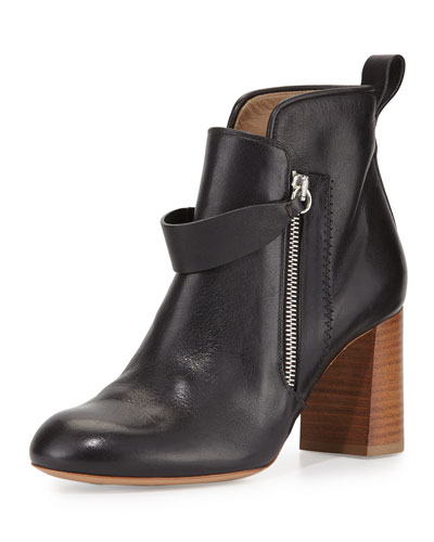 Double-Zip Leather Stack-Heel Bootie, Black