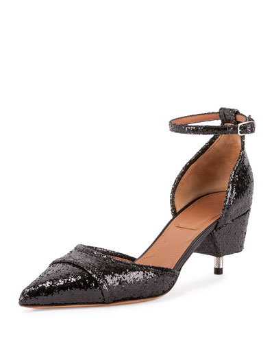 Glittered Cap-Toe Screw-Heel Pump, Black