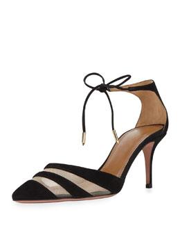 Graphic Suede & Mesh Ankle-Tie Pump, Black