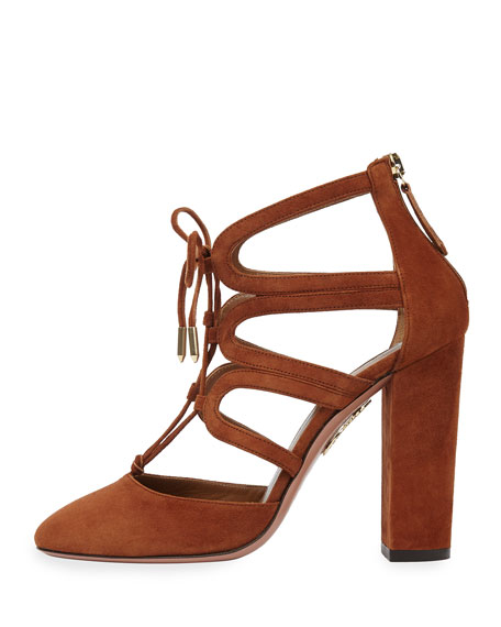 Holli Suede Curvy-Caged Pump, Cognac