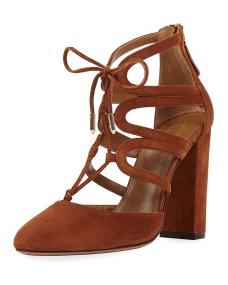 Aquazzura Holli Suede Curvy-Caged Pumps, Cognac