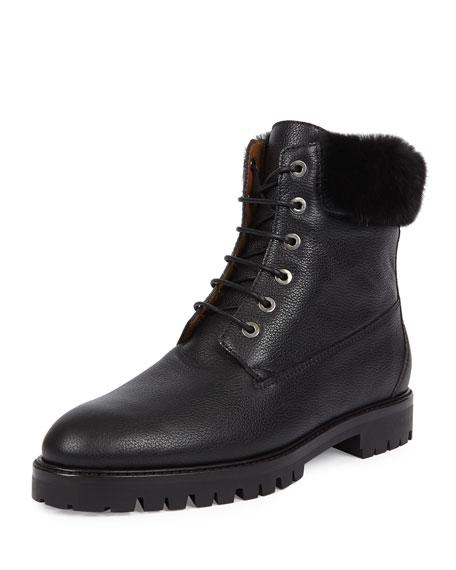 The Heilbrunner Mink-Trimmed Boot, Black
