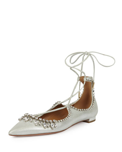 Christy Jeweled Lace-Up Point-Toe Flat, Silver
