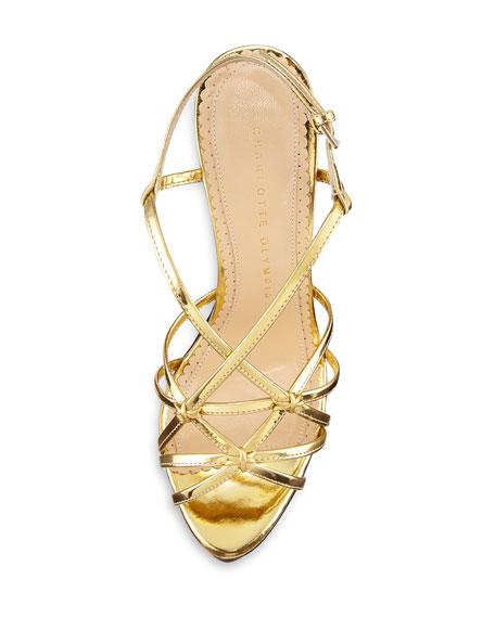 Elizabeth Jewel-Print Wedge Sandal, Gold
