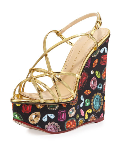 Elizabeth Jewel-Print Wedge Sandal, Gold
