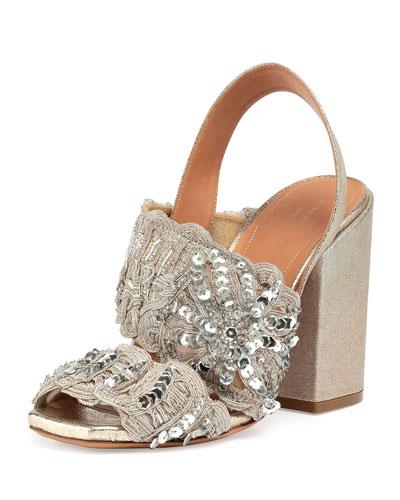 Sequin-Embellished Woven Halter Sandal, Silver