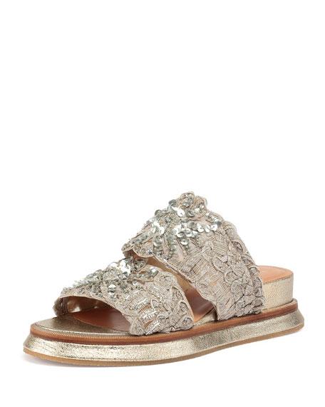 Dries Van Noten Woven Leather Slide Sandals cheap sale low cost XUIkL1tSRH
