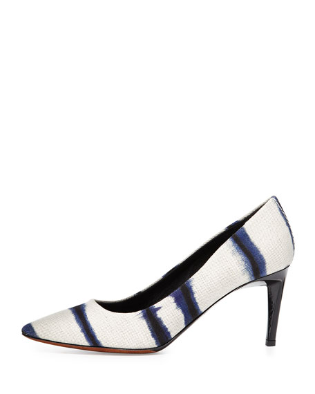 Striped Canvas Pump, White/Black/Blue