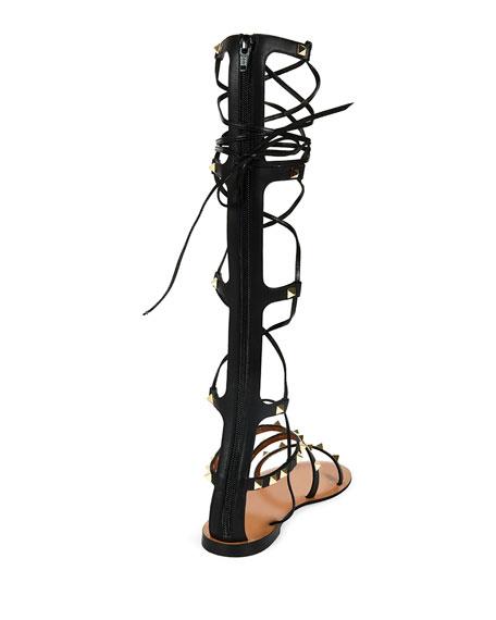 8f02c9e12326 Valentino Rockstud Knee-High Gladiator Sandal