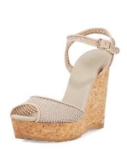 Perla Mesh Wedge Sandal, Marble