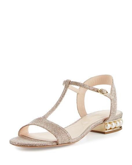 Casati Pearly Metallic Flat Sandal, Champagne