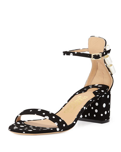 Connie Polka-Dot Suede Sandal, Black/White
