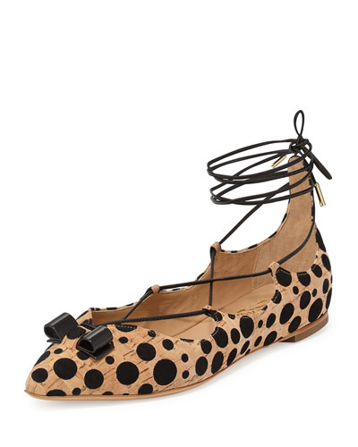 Claire Spotted Cork Lace-Up Flat, Natural/Black
