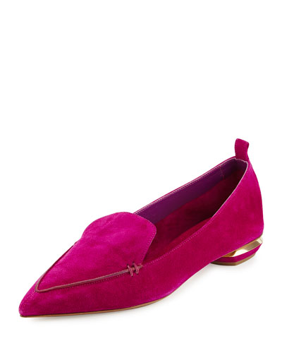 Beya Suede Point-Toe Loafer, Purple