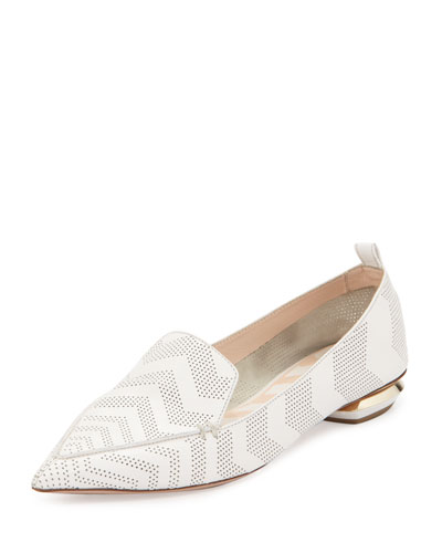 Beya Chevron-Print Leather Loafer, White