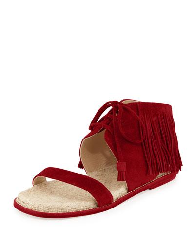 Shantou Fringe Suede Flat Sandal, Dragon Red