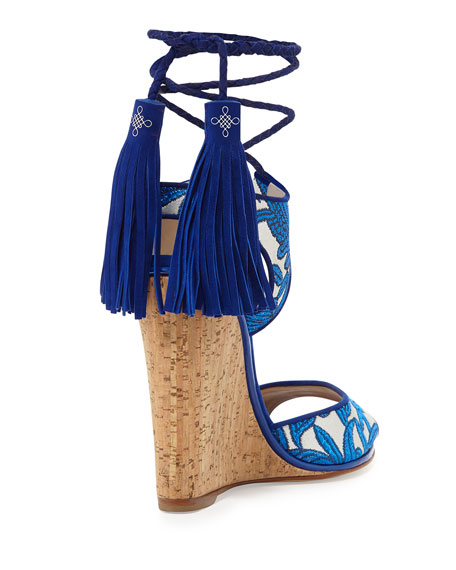 Tianjin Embroidered Tassel Wedge Sandal, Sky/Natural